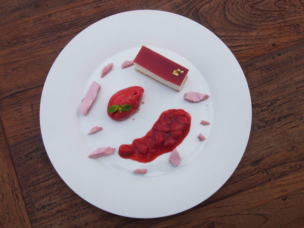 Erdbeer. Limette. Bio-Joghurt. Sommerkarte à la Steak carte Restaurant GenussReich ©Rogner Bad Blumau